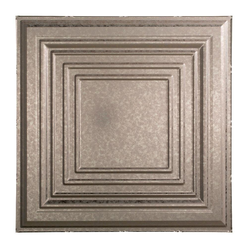 Fasade Traditional 3 - 2 ft. x 2 ft. Lay-in Ceiling Tile in Galvanized Steel