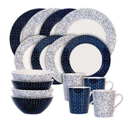 16-Piece Print Blue Indigo Free and Diamond Set