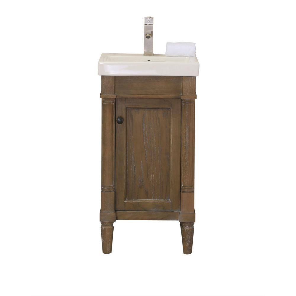 17 3 In W X 13 4 In D X 34 In H Bath Vanity In Weathered With Porcelain Vanity Top In White With White Basin Wlf7021 18 The Home Depot