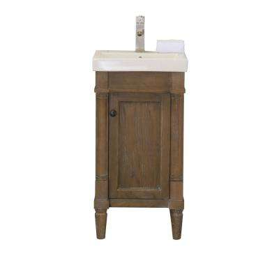 17.3 in. W x 13.4 in. D x 34 in. H Bath Vanity in Weathered with Porcelain Vanity Top in White with White Basin