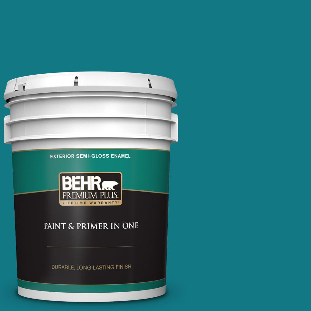 Behr Premium Plus 5 Gal P470 7 The Real Teal Semi Gloss Enamel Exterior Paint And Primer In One 534005 The Home Depot