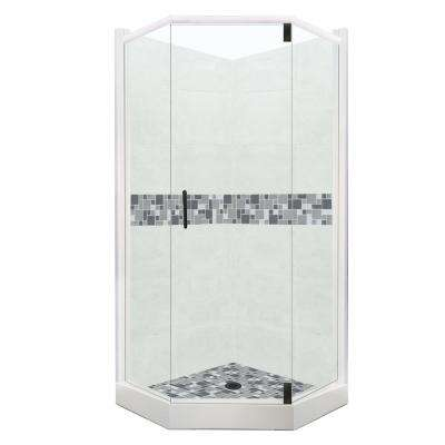 Newport Grand Hinged 32 in. x 36 in. x 80 in. Left-Cut Neo-Angle Shower Kit in Natural Buff and Black Pipe Hardware
