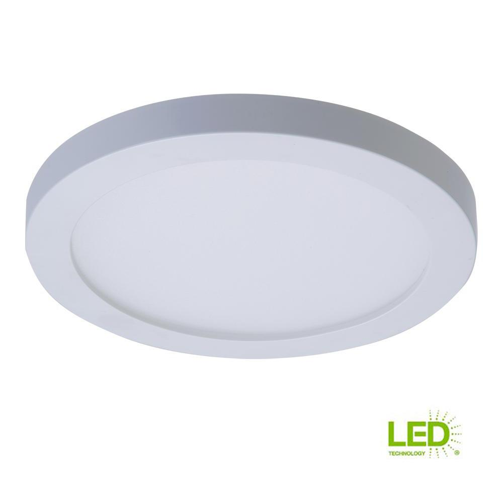 White Integrated Led Recessed Round Surface Mount Ceiling Light Fixture With