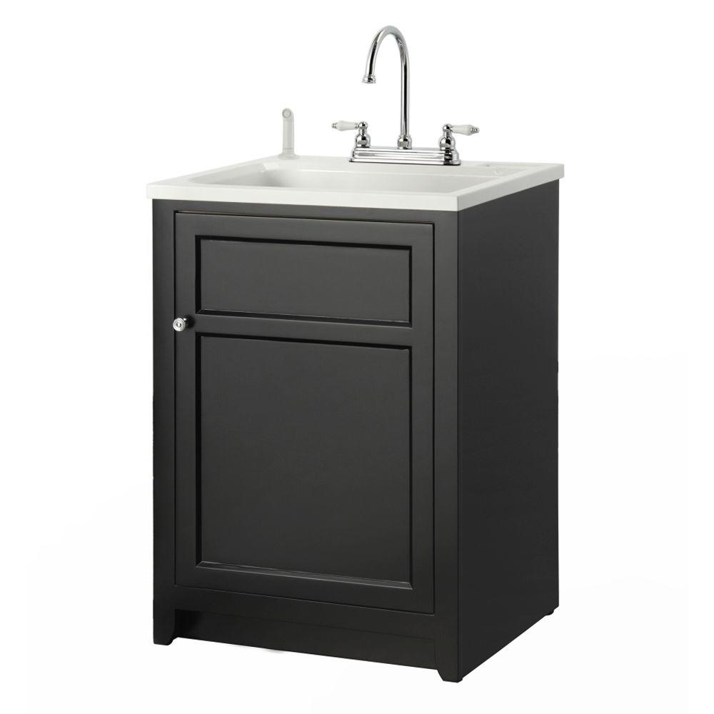 Foremost Conyer 24 in. Laundry Vanity in Black and ABS Sink in White and Faucet Kit
