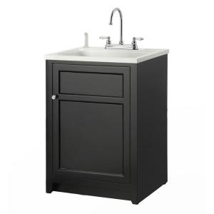 Laundry Vanity in Black and ABS Sink White Faucet Kit COBA2421  The Home Depot Foremost Conyer 24