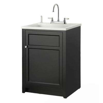 Conyer 24 in. Laundry Vanity in Black and ABS Sink in White and Faucet Kit