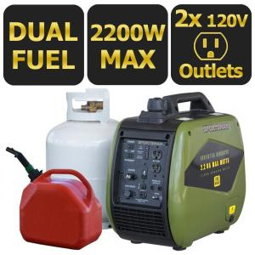 Sportsman 2,200-Watt Dual Fuel LPG/Gasoline Powered Recoil Start Portable Digital Inverter Generator with Parallel... by Sportsman