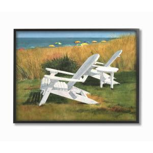 Groovy 16 In X 20 In Two White Adirondack Chairs By Umbrella Beach By Linda Roberts Framed Wall Art Andrewgaddart Wooden Chair Designs For Living Room Andrewgaddartcom