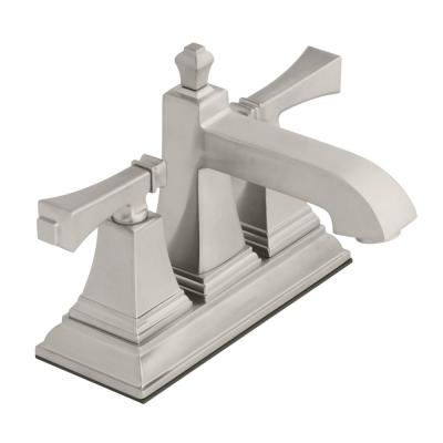 Exhibit 4 in. Centerset 2-Handle Low-Arc Bathroom Faucet in Brushed Nickel
