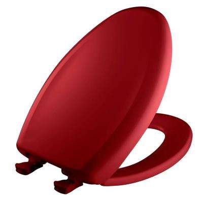Slow Close STA-TITE Elongated Closed Front Toilet Seat in Red