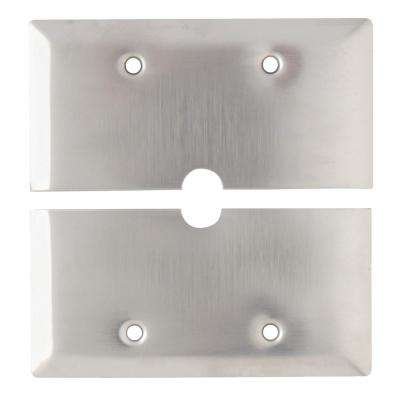 302 Series 1-Gang Horizontal Split 17/32 in. Hole Coaxial Wall Plate, Stainless Steel