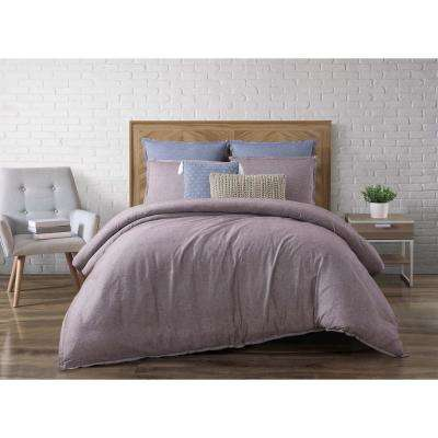 Chambray Loft Plum King Duvet Set