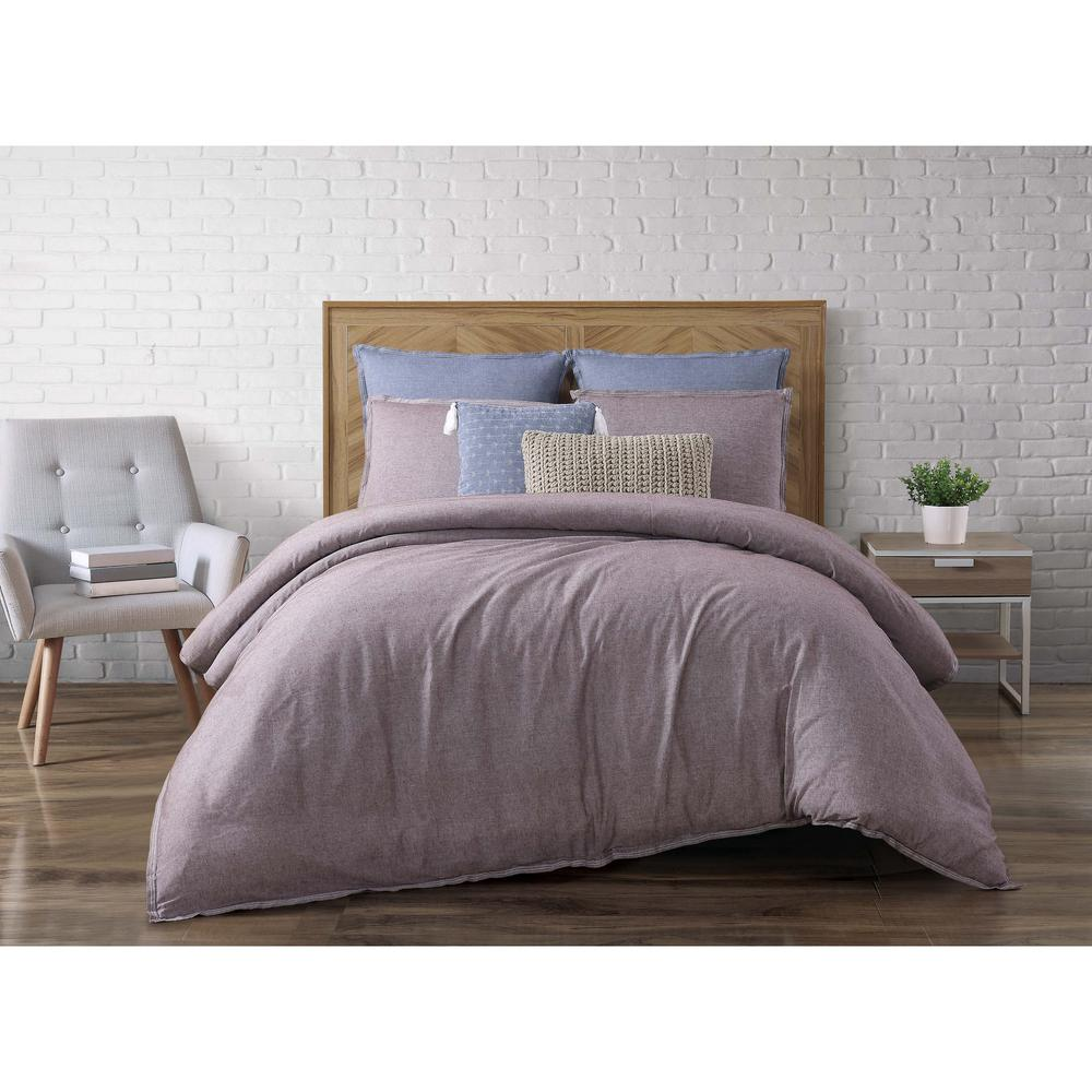 Chambray Loft Plum (Purple) Queen Duvet Set