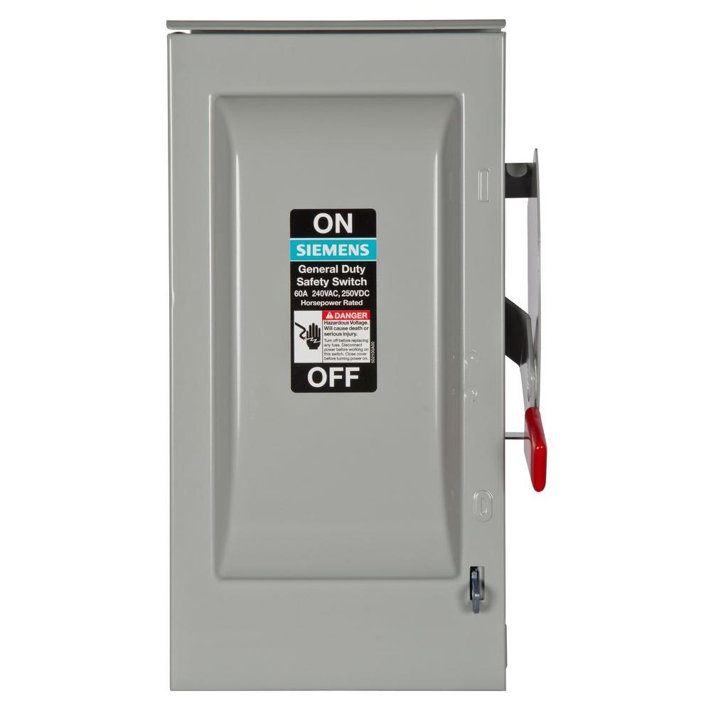 General Duty 60 Amp 240-Volt 2-Pole Outdoor Fusible Safety Switch with