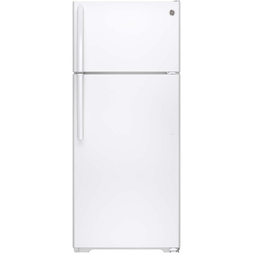 Ge 17 5 Cu Ft Top Freezer Refrigerator In White