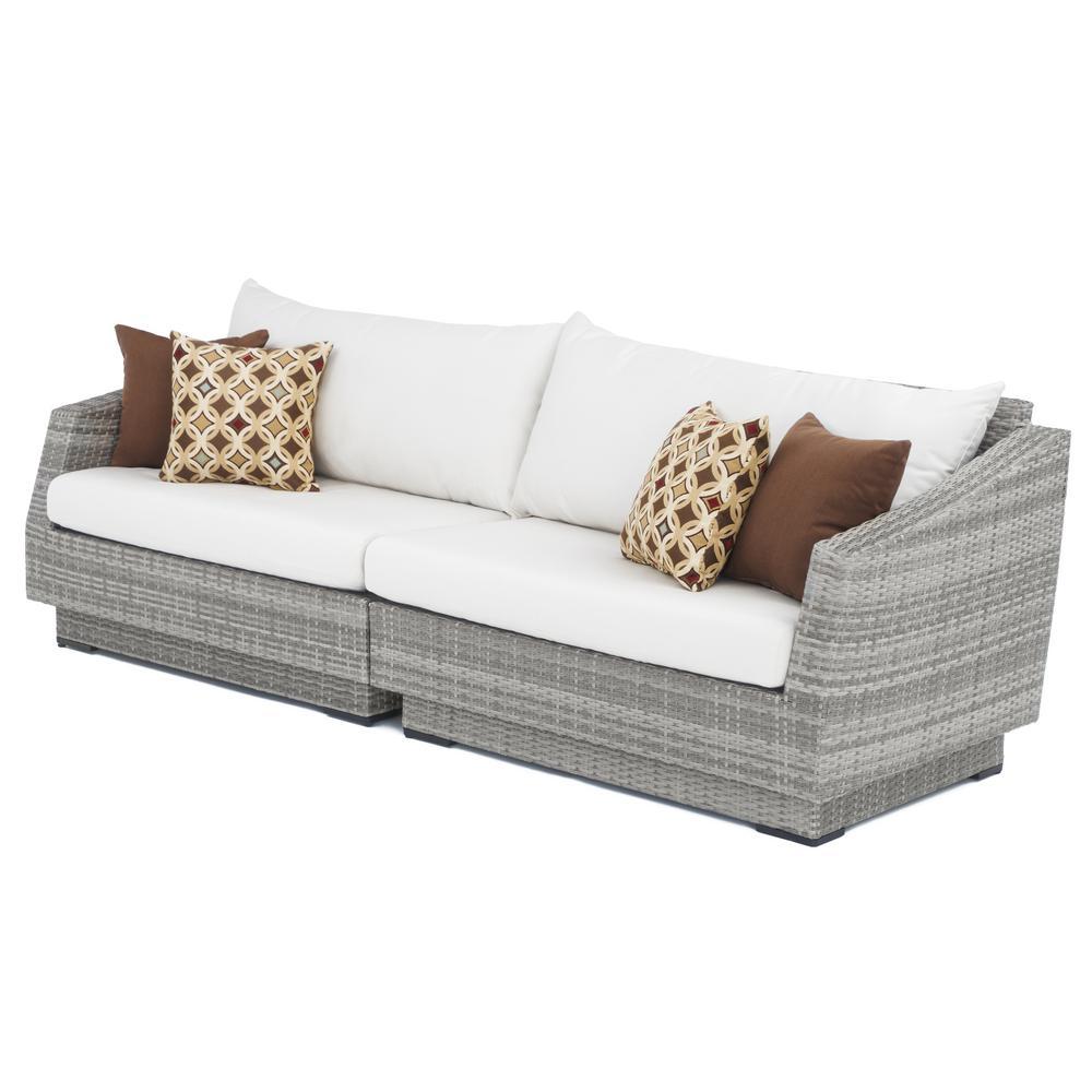 Cannes 2-Piece All-Weather Wicker Patio Sofa with Sunbrella Moroccan Cream Cushions