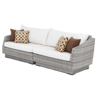 Cannes 2 Piece All Weather Wicker Patio Sofa With Sunbrella Moroccan Cream  Cushions
