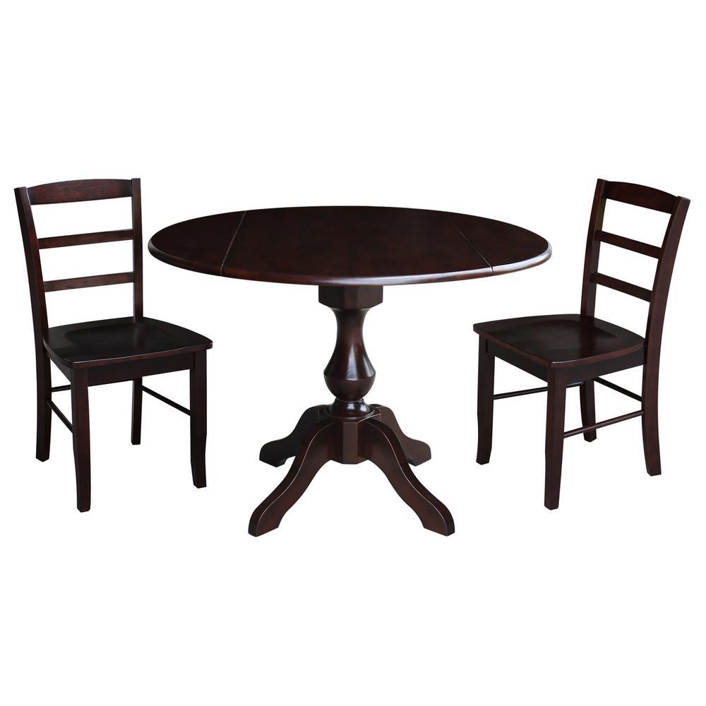 Sophia 3-Piece Rich Mocha Drop-leaf Dining Set with 2-Madrid Chairs