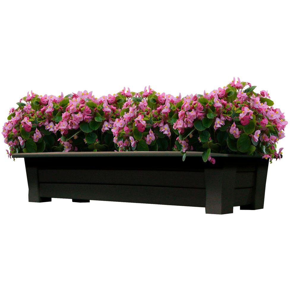 Resin Deck Planter Box Flower Garden Porch Yard Pot Drainage Holes Earth Brown
