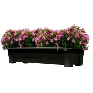 Adams Manufacturing 36 inch x 15 inch Earth Brown Resin Deck Planter by Adams Manufacturing