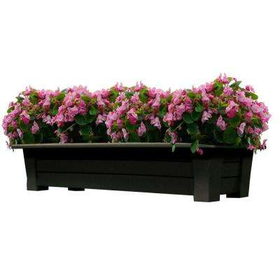 36 in. x 15 in. Earth Brown Resin Deck Planter