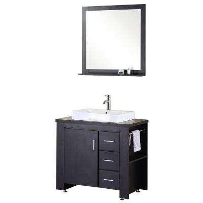 Washington 36 in. Vanity in Espresso with Wood Vanity Top in Espresso and Mirror