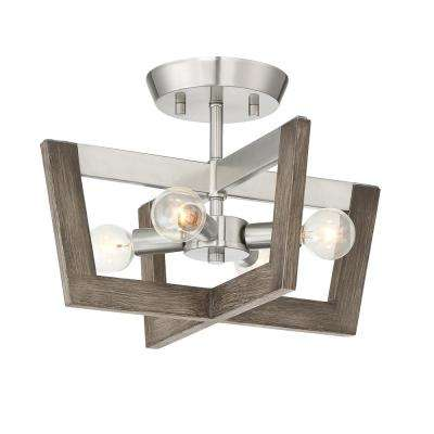 Westend 14 in. 4-Light Satin Platinum Interior Semi Flush Mount