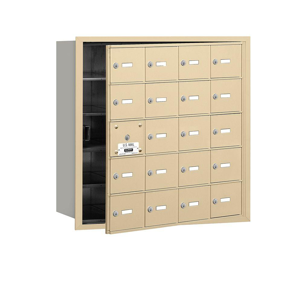Salsbury Industries Sandstone USPS Access Front Loading 4B Plus Horizontal Mailbox with 20A Doors (19 Usable)