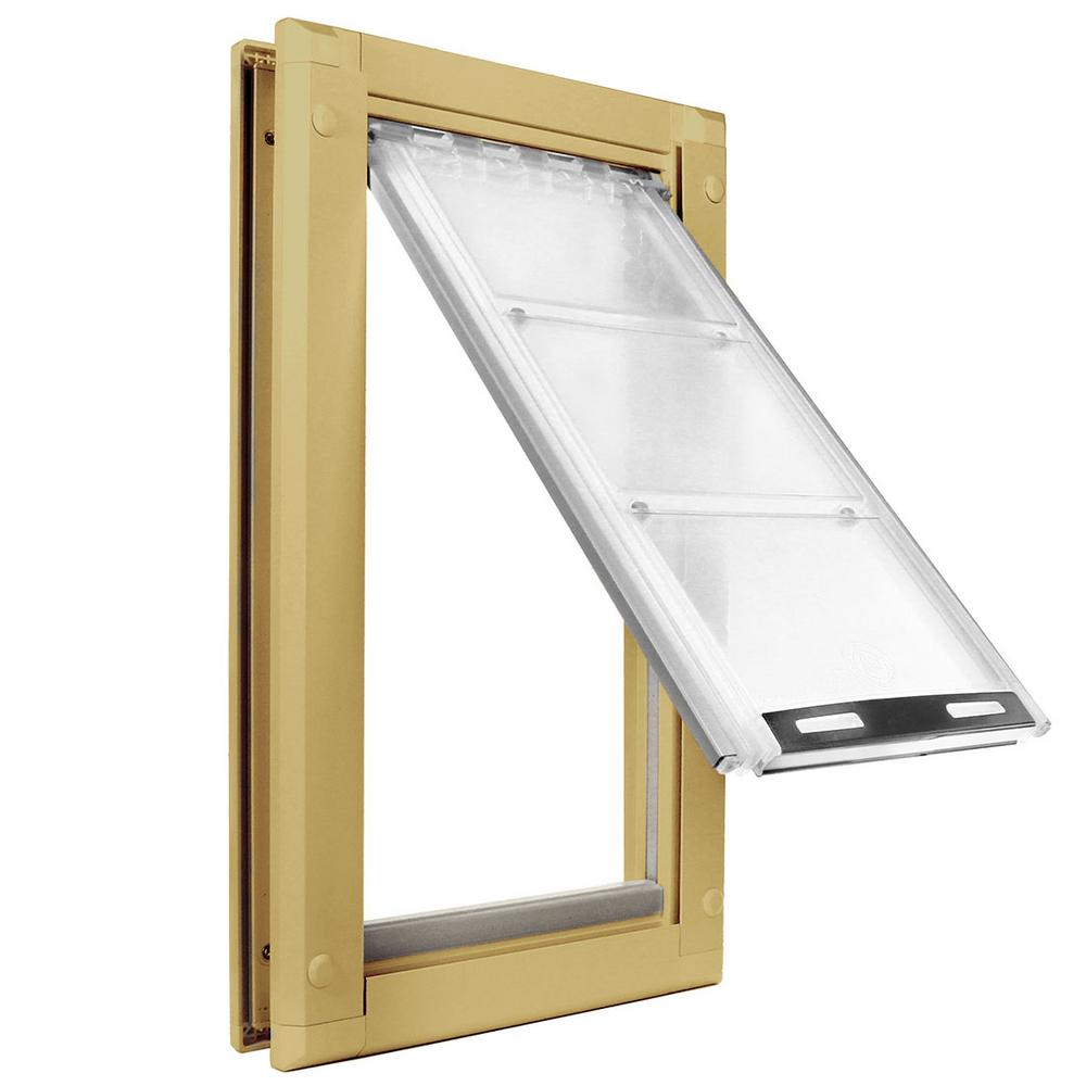Medium Single Flap For Doors Pet Door With Tan Aluminum Frame