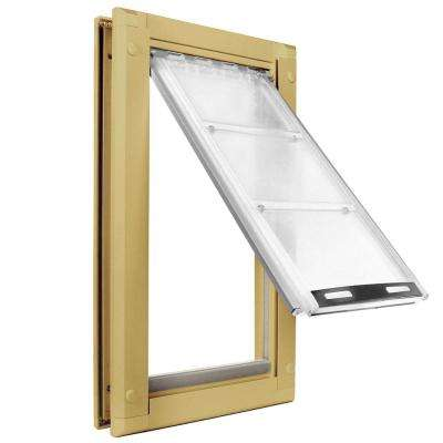 8 in. x 15 in. Medium Single Flap for Doors Pet Door with Tan Aluminum Frame
