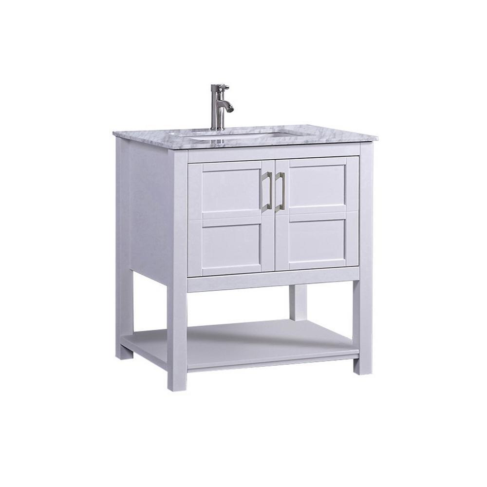 MTD Vanities Nord 30 in. W x 22 in. D x 36 in. H Bath Vanity in White with Carrara Marble Vanity Top in Grey/White with White Basin