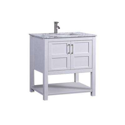 Nord 30 in. W x 22 in. D x 36 in. H Bath Vanity in White with Carrara Marble Vanity Top in Grey/White with White Basin