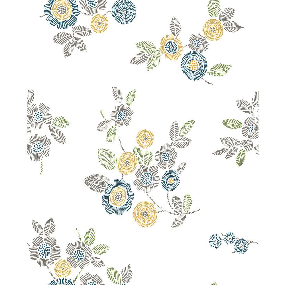 Malaga Grey Floral Wallpaper Sample