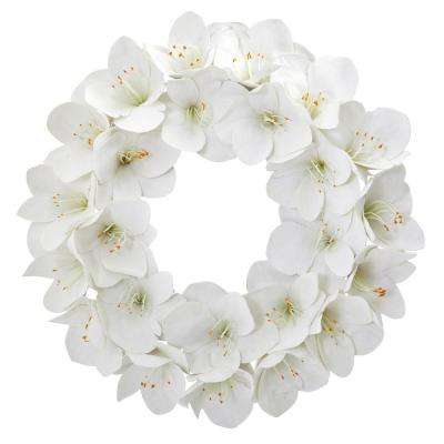 24 in. Indoor Amaryllis Artificial Wreath