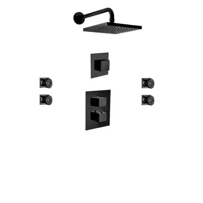 Quadro 3-Spray 8 in. Wall Mount Square Showerhead with Body Jets in Matte Black