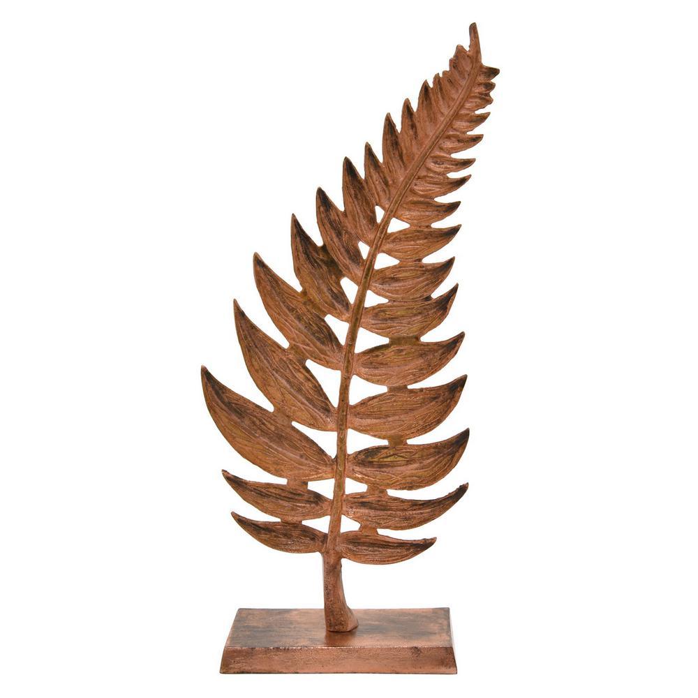 20.5 in. Metal Leaf Base Tabletop in Copper