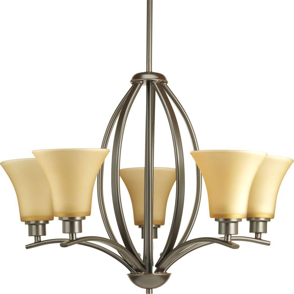 Brown chandeliers lighting the home depot joy collection 5 light antique bronze chandelier with etched light umber glass arubaitofo Image collections