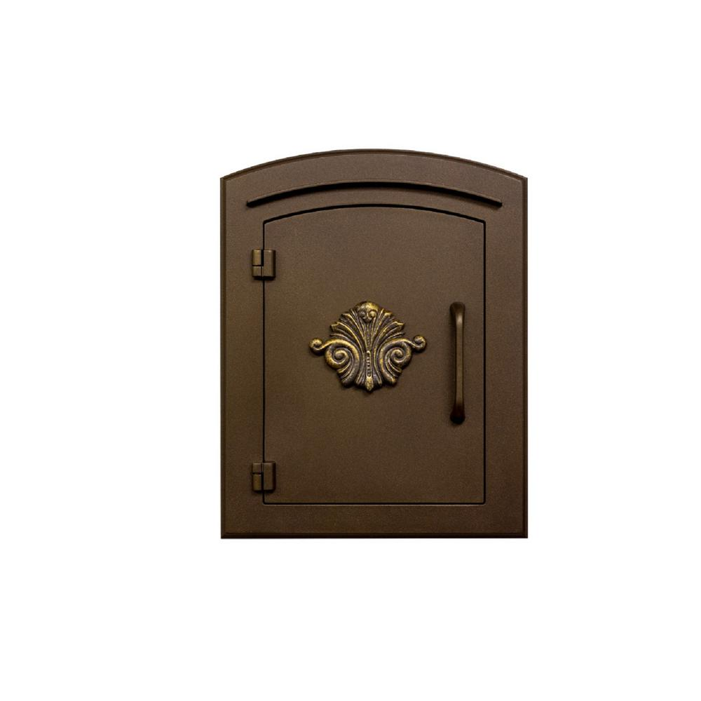 Manchester Bronze Column Mount Non-Locking Mailbox with Decorative Scroll Logo