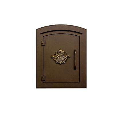 Bronze Column Mount Non-Locking Mailbox with Decorative Scroll Logo