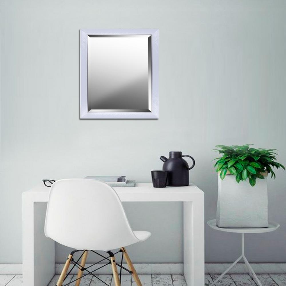 43 In H X 30 In W Grey Wash Real Wood Beveled Mirror