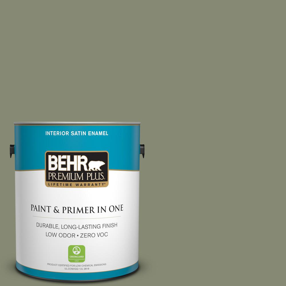 1 gal. #PPU10-17 Aloe Thorn Zero VOC Satin Enamel Interior Paint