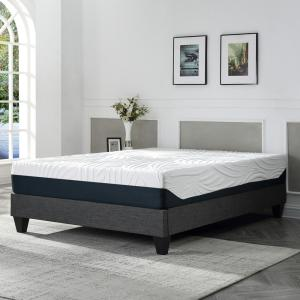 Contemporary Upholstered Grey King Platform Bed