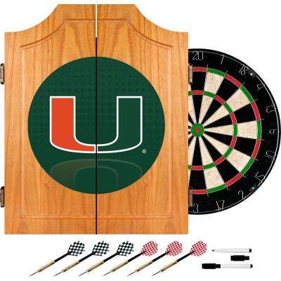 University of Miami Reflection 20.5 in. Wood Dart Cabinet Set