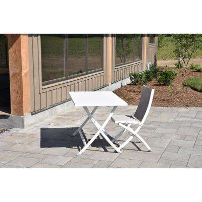 Bachelor White Folding Aluminum Outdoor Dining Chair (2-Pack)