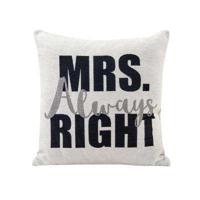 Mrs Always Right Ivory and Black Decorative Pillow