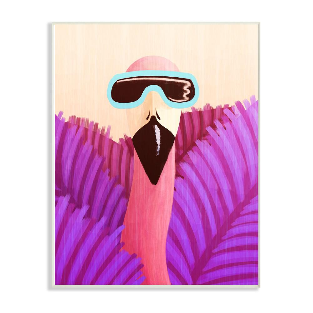 "13 in. x 19 in. ""Flamingo in Sunglasses And Purple Leaves"""