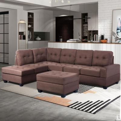 3-Piece Brown Microfiber 6-Seater L-Shaped Left-Facing Sectional Sofa with Ottoman