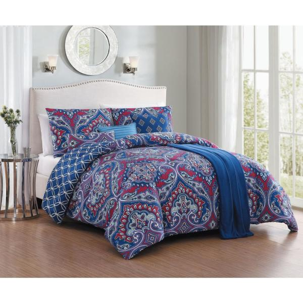 Avondale Manor Cantara 7pc Blue Queen Comforter Set with Throw CAN7CSQUENGHBL