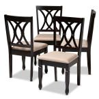 Reneau Sand Brown and Espresso Fabric Dining Chair (Set of 4)