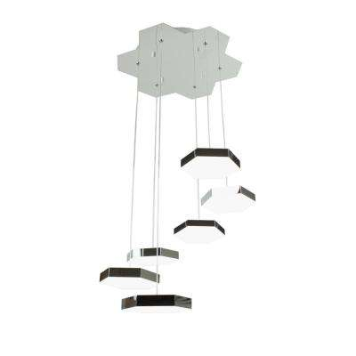Zazil 30-Watt Chrome Integrated LED Pendant Cluster with 6-Lights